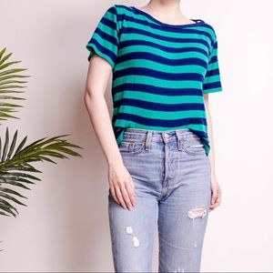 Vintage 80s striped green knit crewneck T-shirt